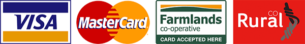 We accept Visa, Mastercard, Farmlands Card, Rural Co Card
